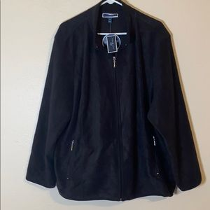 Karen Scott zeroproof fleece jacket. Black.